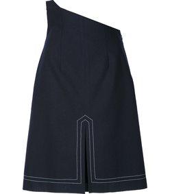 navy asymmetric waist skirt
