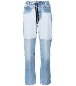 contrast panel boyfriend jeans