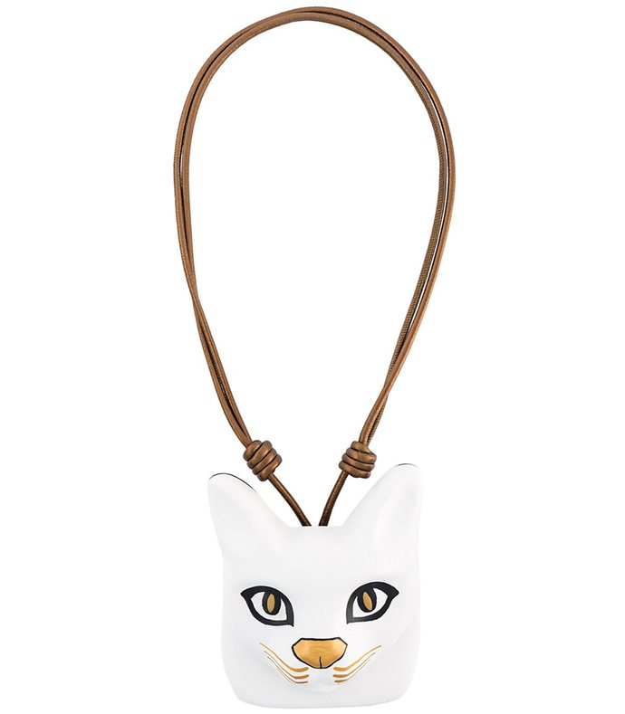 white cat face necklace