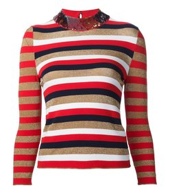 red multi stripe & sequin sweater