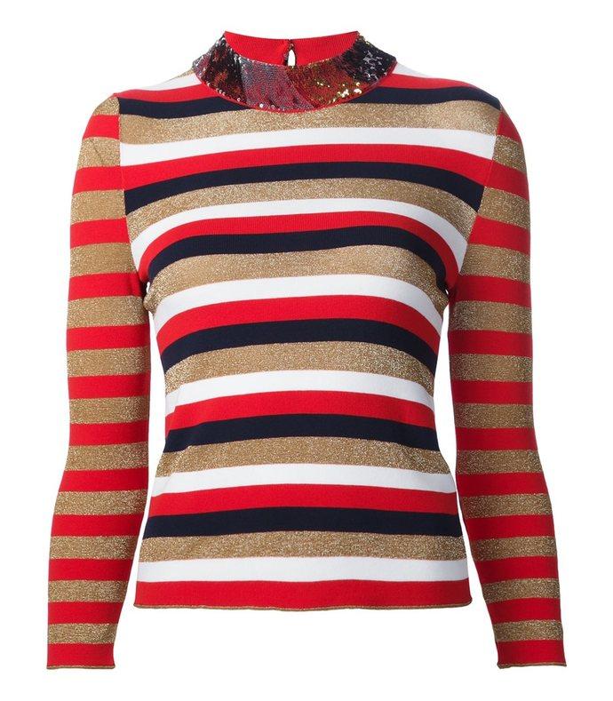 red multi stripe & sequin sweater