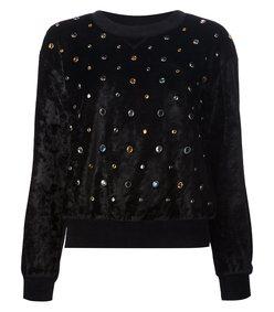black velvet studded pullover