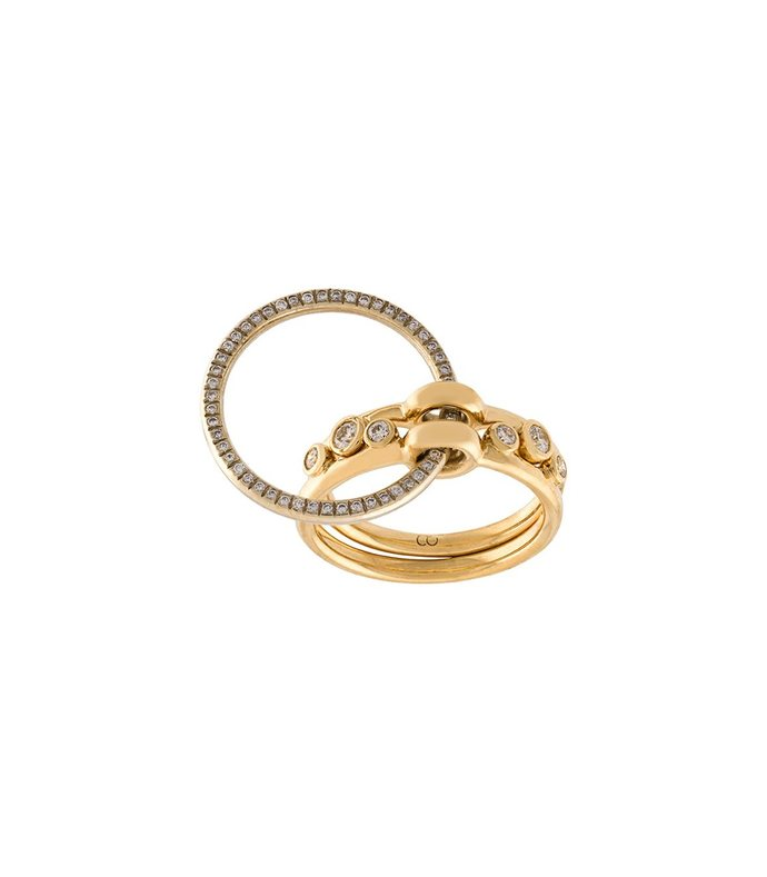 gold three part ring