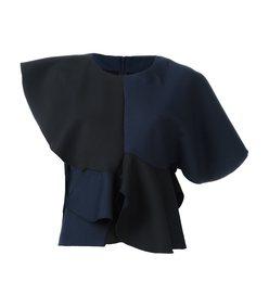 navy & black ruffled top