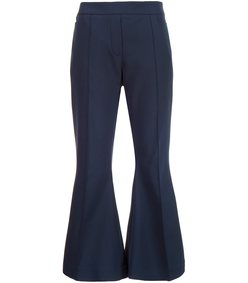 navy cropped flare trouser