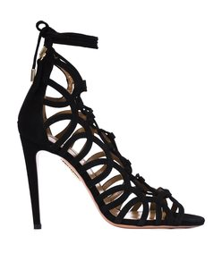black lace-up sandal