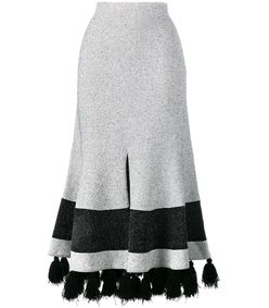white & black midi tassel skirt
