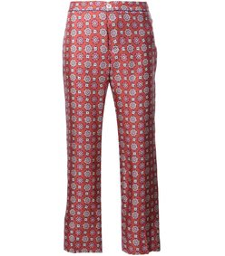 red multi floral print trouser