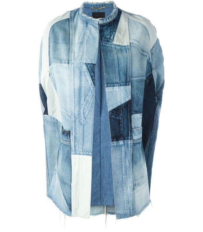 blue patchwork denim cape