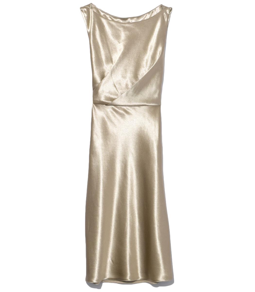 Gold Anne Wide Scoop Neck Dress