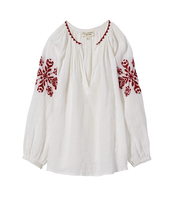 red & white 'ember' blouse