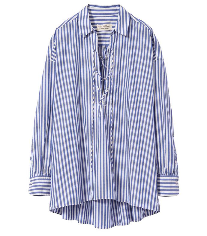 white & blue stripe 'shiloh' top