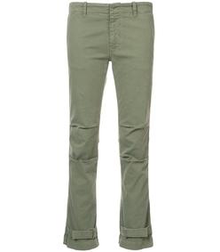 green buckled hem trousers