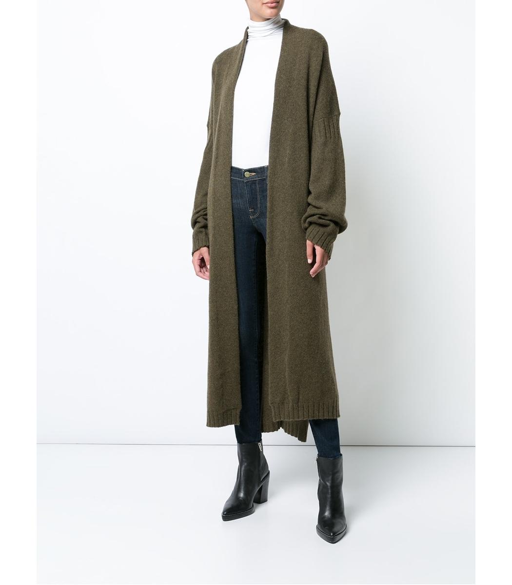 Nili Lotan Kinsley Long Wrap Cardigan - Green Long Sleeve Cardigan
