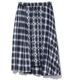 blue check pleated skirt