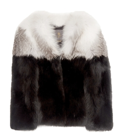 black white maria fox fur jacket