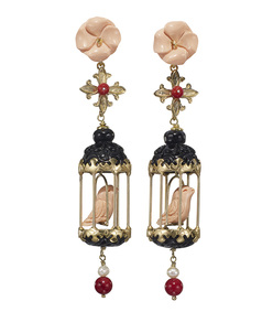 black & pink 'aviary' classic earrings