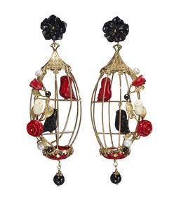 black multi 'lovebirds' earrings