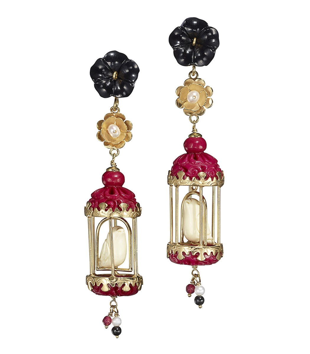 OF RARE ORIGIN Black/Fuchsia Multi Aviary Classic Earrings