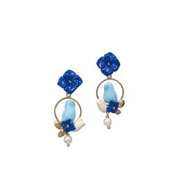 blue/white chicks earrings