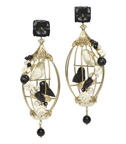 black/white lovebirds cage earrings