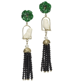 swinger beaded tassel drop earrings