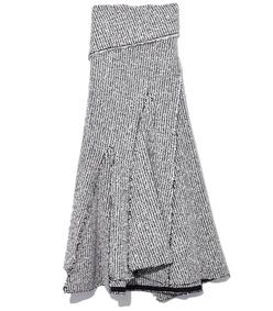 draped skirt in antique white/black