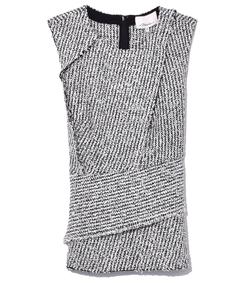 antique white/black wrap waist top