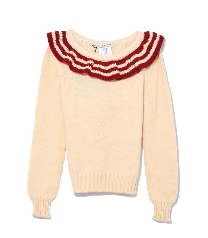 cream & red ruffle collar sweater