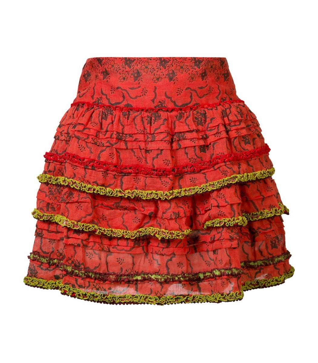 Poupette St Barth Bibi Mini Skirt - Red/Black Cotton Skirt
