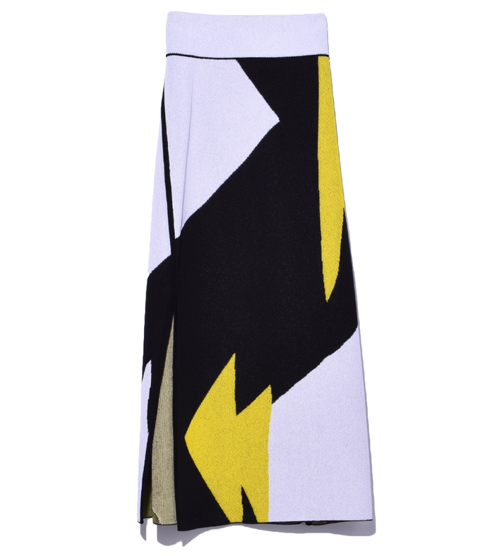 black multi abstract knit skirt