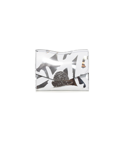 silver/optic white small curl clutch bag