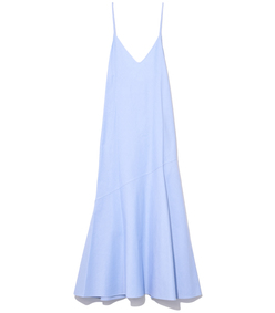 flared bias dress in chambray blue