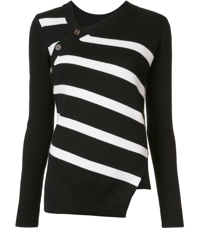 black & white asymmetric striped sweater