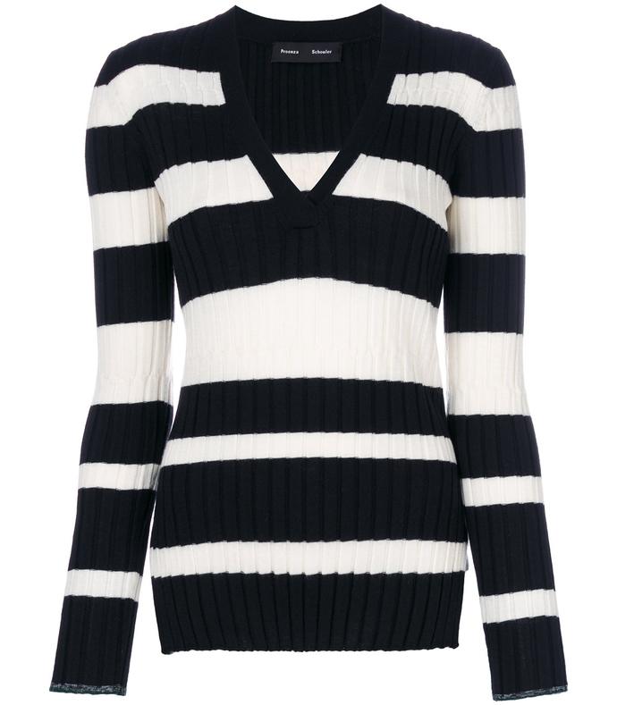 black & white striped v-neck knitted top