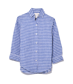 3/4 sleeve summer oxford in blue/white