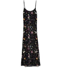 black botanical cami slip dress