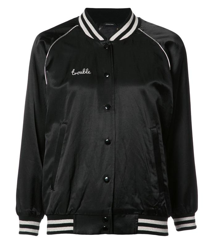 black 'trouble' bomber jacket
