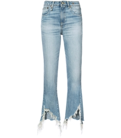 blue torn hem cropped jeans