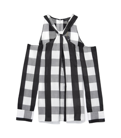 black & white collingwood top