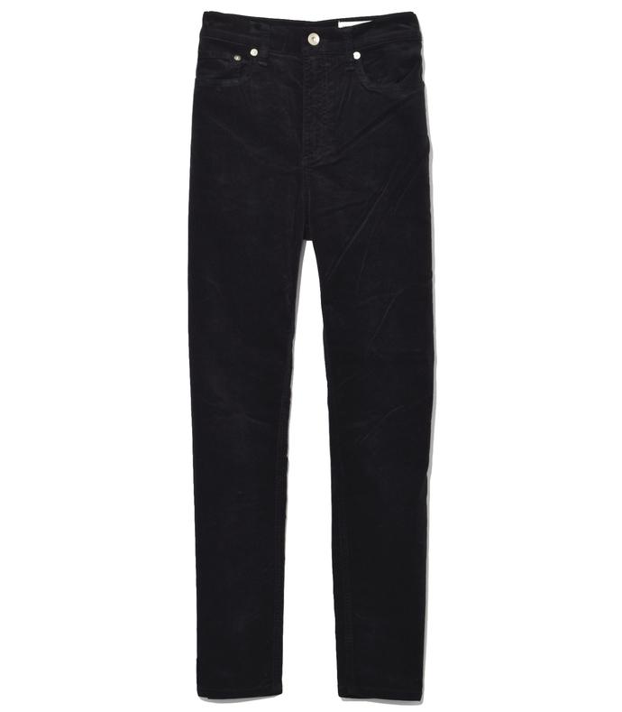 Black High Rise Velvet Skinny Jeans 210000035085