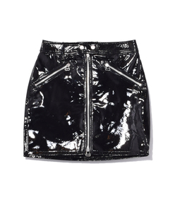 black vinyl racer skirt