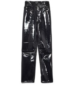 black patent straight jeans