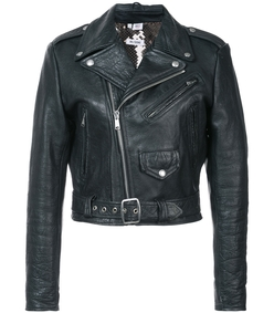 black leather sequin lining jacket