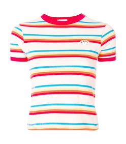 red multi seventies stripe tee