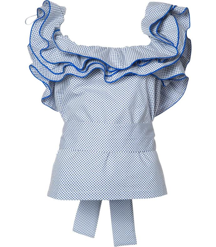blue ruffled collar blouse