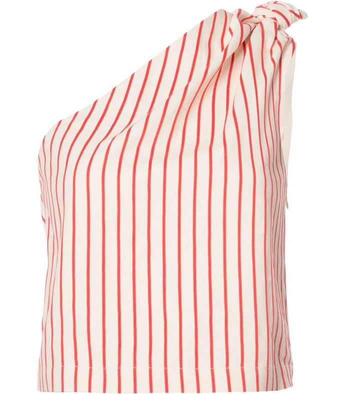striped one-shoulder blouse