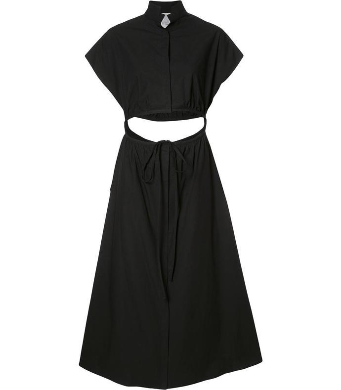 black a-line poplin dress