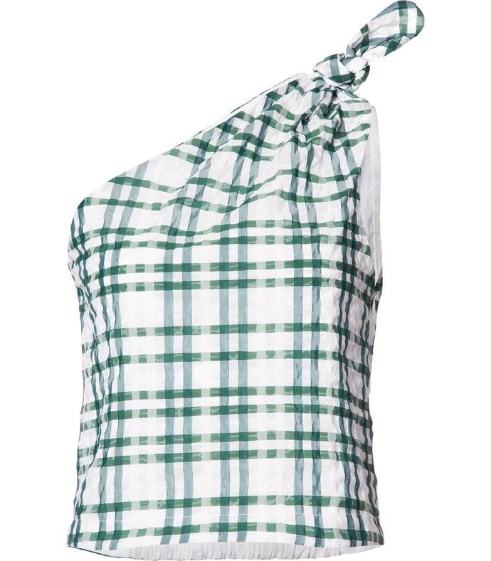 green plaid one-shoulder blouse
