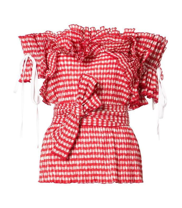 red gingham ruffled top